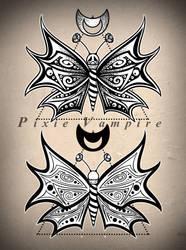 Moth butterfly dotwork tattoo design stencil by Pixie-Vampire