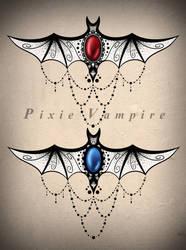 Bat mandala underboob tattoo design stencil by Pixie-Vampire