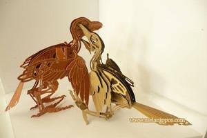 Clockwork bird fight by melanippos