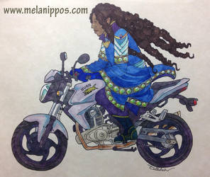 Luthien Tinuviel on a motorbike by melanippos