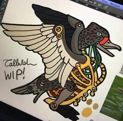 Steampunk duck sticker by melanippos