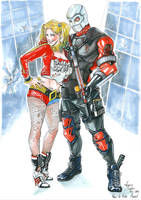 Harley Quinn and Deadshot by VirginieSiveton