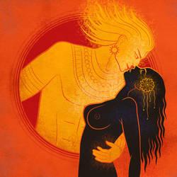 Kunti and Surya by zdrava