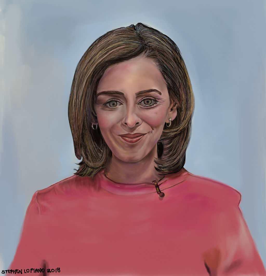 Painting of A DW News Broadcaster: Sarah Kelly. by StephenL