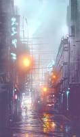 Rainy Alley Sketch by Zen-Master