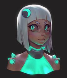 cyber candy sketch - dark eyes by MoonlightOrange