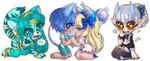 Chibi Commission Batch 249 - 251 by Lady-Bullfinch