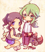 Touko plays together with N by koroneri