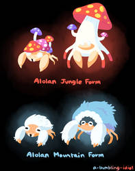 Alolan Paras and Parasect by Gooompy