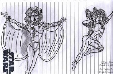 X-Men Women Sketch by CrappyMSPaintArt