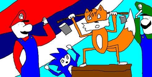 Sonic luigi mario tails having birthday party by Paul1920