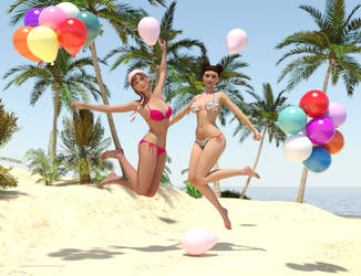 Leelo and Suki - More Fun with Balloons ! by BubbleCloud