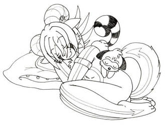 Ram and coon sleeping by caycay
