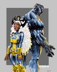 Storm and Black Panther by apexabyss