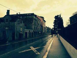 Split city lonely rainy street by carrolsmith