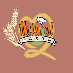Natural Pasta Logo (Full) [red-warm bg] by optimismeBoo