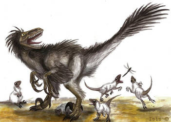 Mrs. Raptor and her chicks by IsisMasshiro