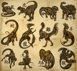 Chinese Dinosaur Zodiac by IsisMasshiro