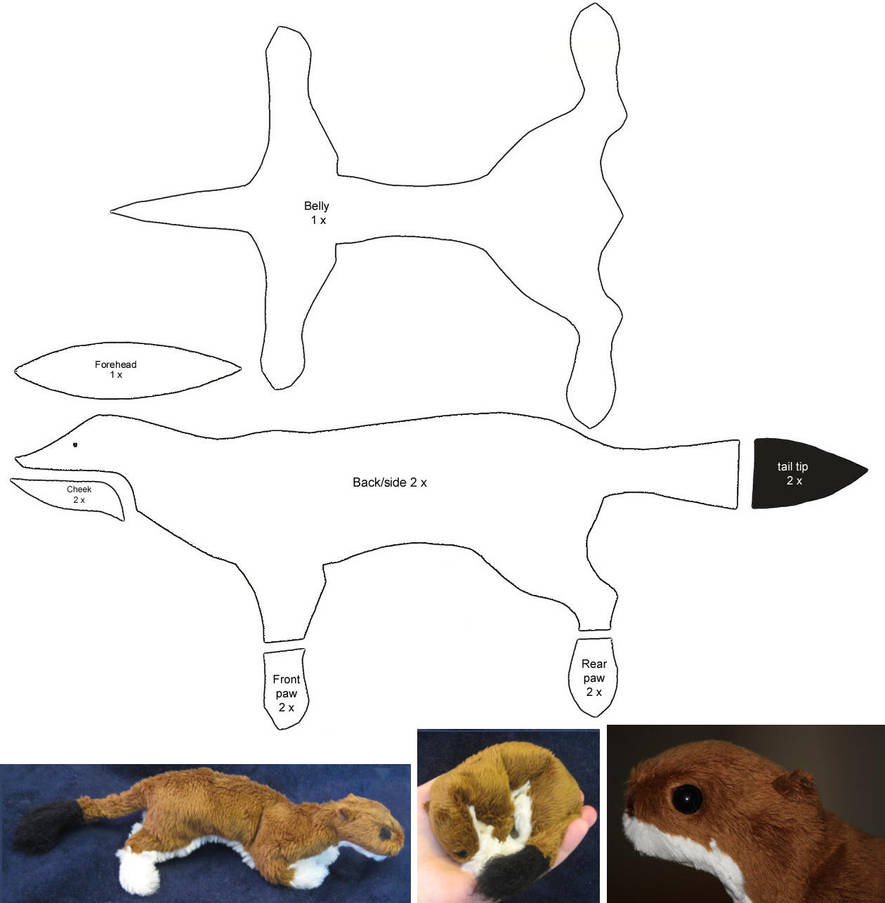 Stoat - plushie patterns by IsisMasshiro