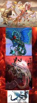 Flight Rising - Bunch of dragons by IsisMasshiro