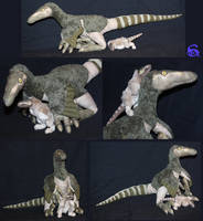 Momma velociraptor and chick-plushies SOLD by IsisMasshiro