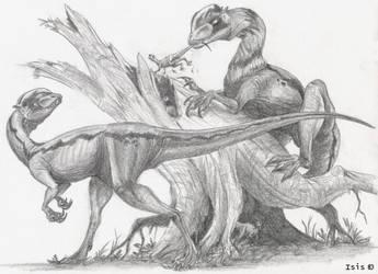 JP dilophosaurs by IsisMasshiro
