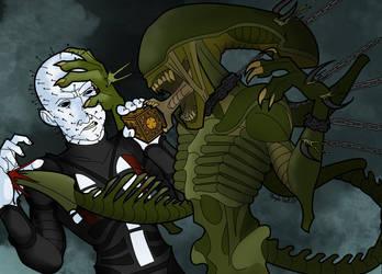 Alien Vs Pinhead by whysoseriouss