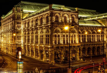 State Opera in Vienna at night by pingallery