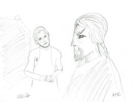 Odo and Worf Sketch by AdamTSC