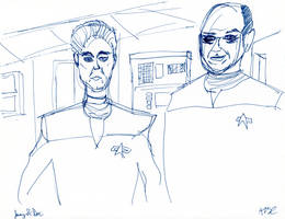 Janeway and Doctor Sketch by AdamTSC
