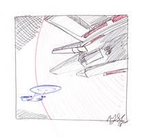 Enterprise and Tamarian Ship by AdamTSC