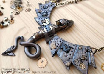 Steampunk Dragon Necklace - polymer clay art by RegnumLaternis
