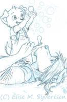 Soap Bubbles - sketch by oomizuao