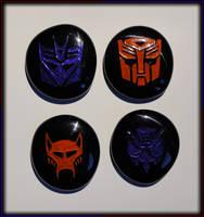 Black Glass Engraved Transformers Insignias by ChimeraDragonfang