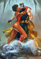 Spider Vixen and Blue Boltage: My Hero by JGalley0