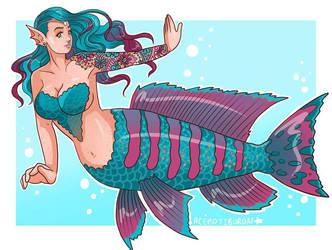 Cichlid Mermaid Commission by AceroTiburon