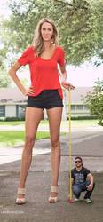 Tall woman long legs measure by lowerrider