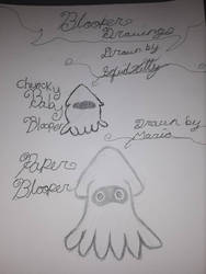 chubby blooper nd normal paper mario blooper  by SquidKitty1994