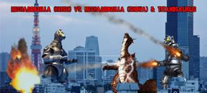 MG Heisei Vs MG Showa and Titanosaurus by KingLittleCaesar