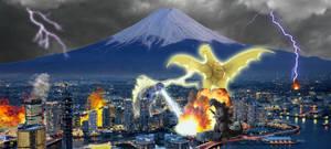 Godzilla Showa and Ghidorah GMK Vs Godzilla GMK by KingLittleCaesar