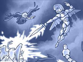 SkyGnome vs. The Zombuzzards by Vanilleon