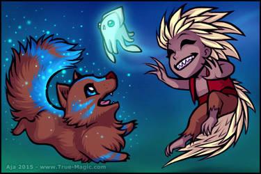 Chibi Demon and Wolf by Vanilleon