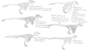 Hell Creek Deinonychosauria revision sketch dump by Tomozaurus