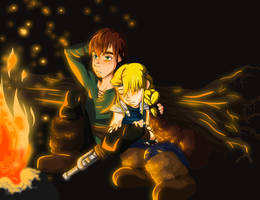 Campfire - Hiccup and Astrid by NightLiight