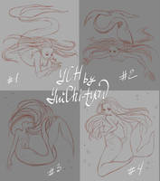 [open 3/4] YCH mermaid poses by YuiChi-tyan