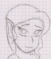 Shy elf sketch by GuldeDK