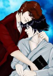 Death Note. Light x L Romantic Hugs  by Rabies-Lyssavirus