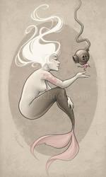 Mermaid and Scuba Bird by aleksandracupcake