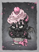 Devil Kitty Cupcake by aleksandracupcake