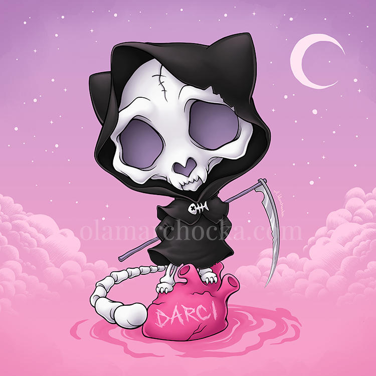 Grim Reaper Kitty by aleksandracupcake
